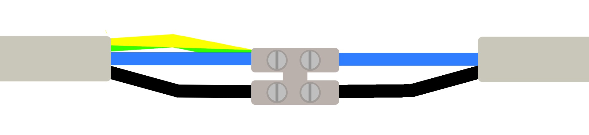Deckenlampe anschließen mit zwei Deckenkabeln