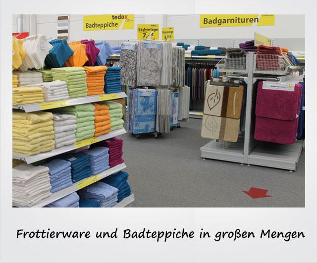 Frottierware und Badteppiche in großen Mengen