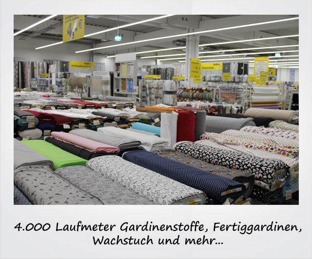 4.000 Laufmeter Gardinenstoffe, Fertiggardinen, Wachstuch und mehr...