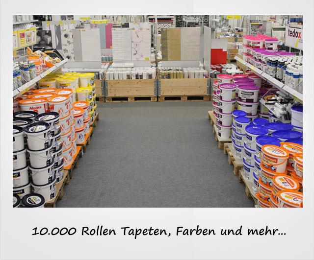 10.000 Rollen Tapeten, Farben und mehr...